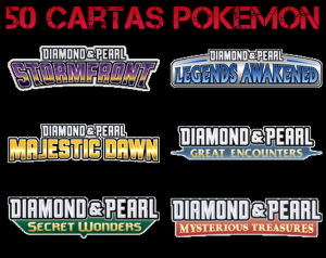 Pack 50 Cartas Pokemon Aleatórias Colecciones Diamante y Perla
